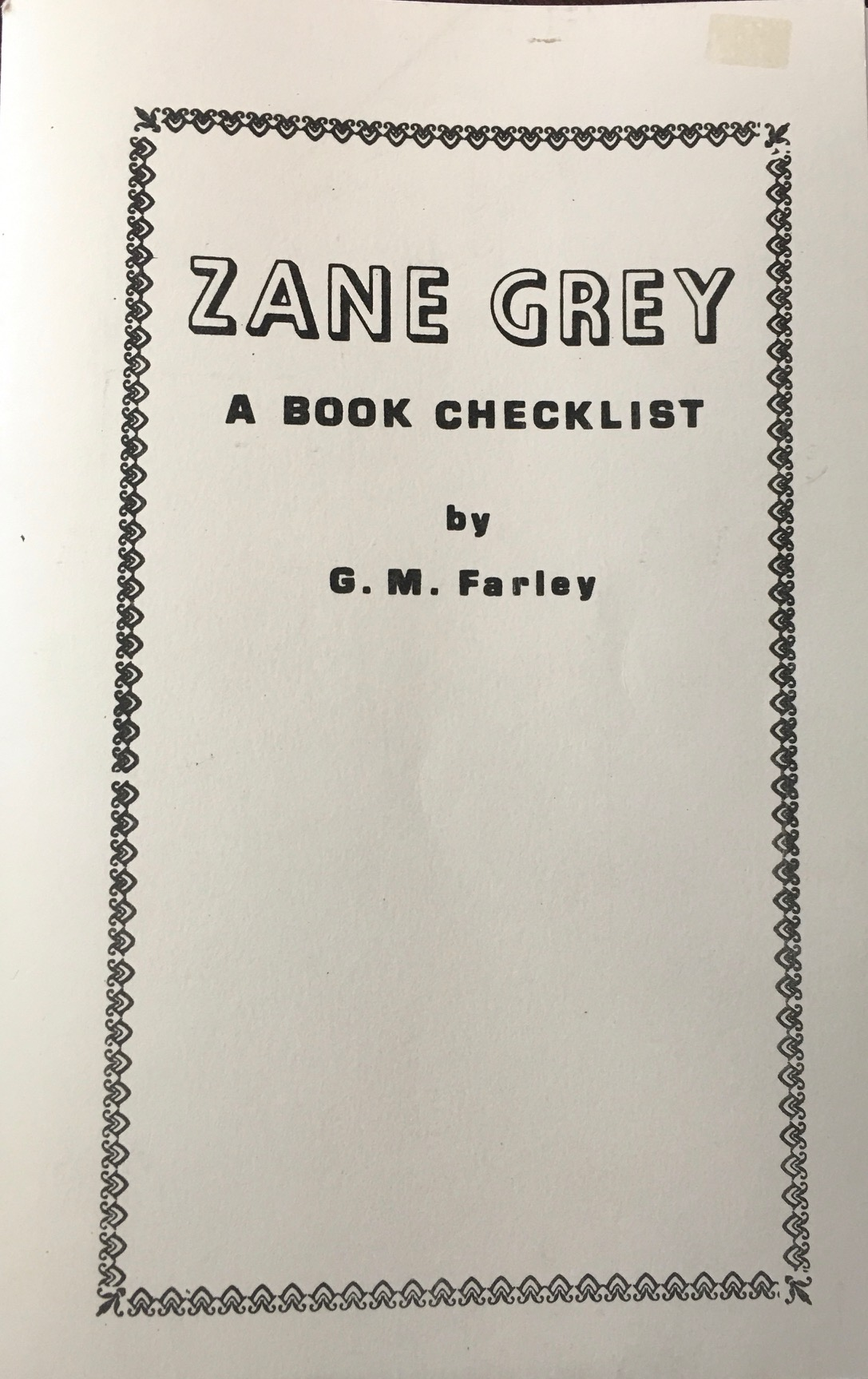 Image for Zane Grey, A Book Checklist