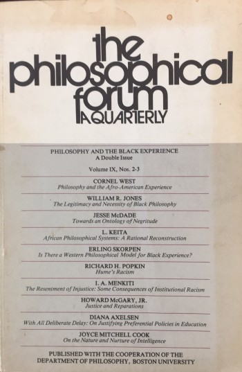 Image for The Philosophical Forum - A Quarterly (Volume IX, Nos. 2-3, Winter-Spring 1977-78) - Philosophy and the Black Experience, A Double Issue