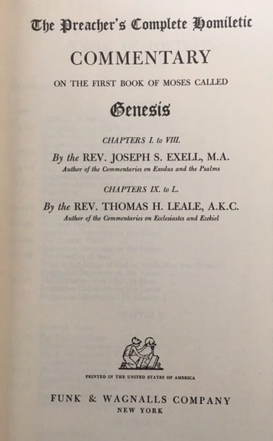 Image for Commentary On The First Book Of Moses Called Genesis - Chapters 1 to 8 by Exell / Chapters 9 to 50 by Leale (The Preacher's Complete Homiletic)