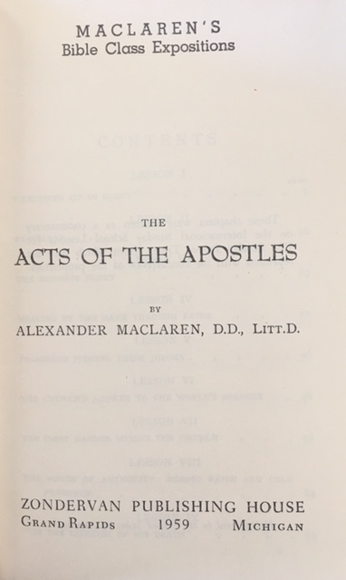 Image for The Acts of the Apostles (Maclaren's Bible Class Expositions)