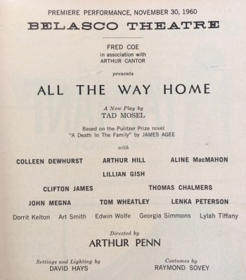 Image for Playbill - Belasco Theatre: All the Way Home - winner of Pulitzer Prize for Drama in 1961 - Playwright Tad Mosel from Steubenville, OH