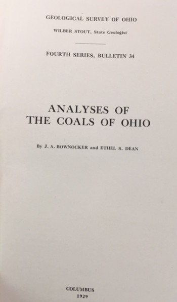 Image for Analyses of the Coals of Ohio (Geological Survey of Ohio - Fourth Series, Bulletin 34)