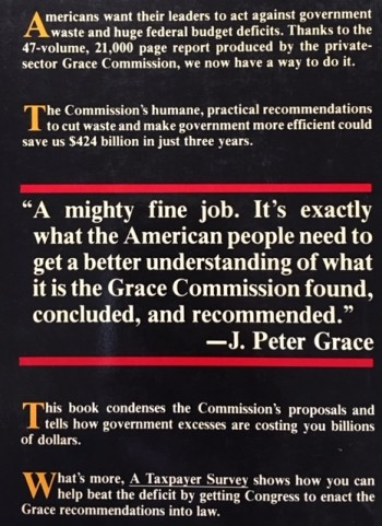 Image for A Taxpayer Survey of the Grace Commission Report