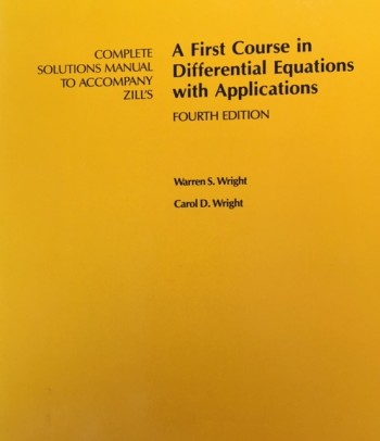 Image for Complete Solutions Manual to Accompany Zill's A First Course in Differential Equations With Applications - 4th Edition