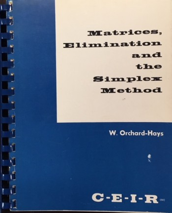 Image for Matrices, Elimination and the Simplex Method (2nd Revised Edition - 1961)