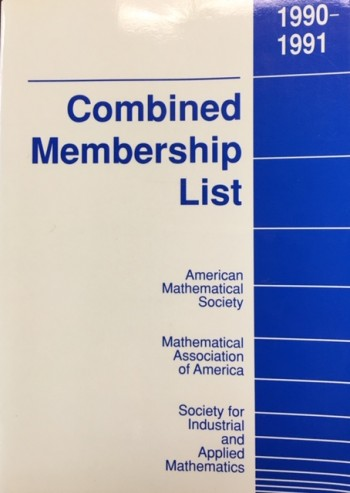 Image for Combined Membership List 1990-1991 (American Mathematical Society / Mathematical Association of America / Society for Industrial and Applied Mathematics)