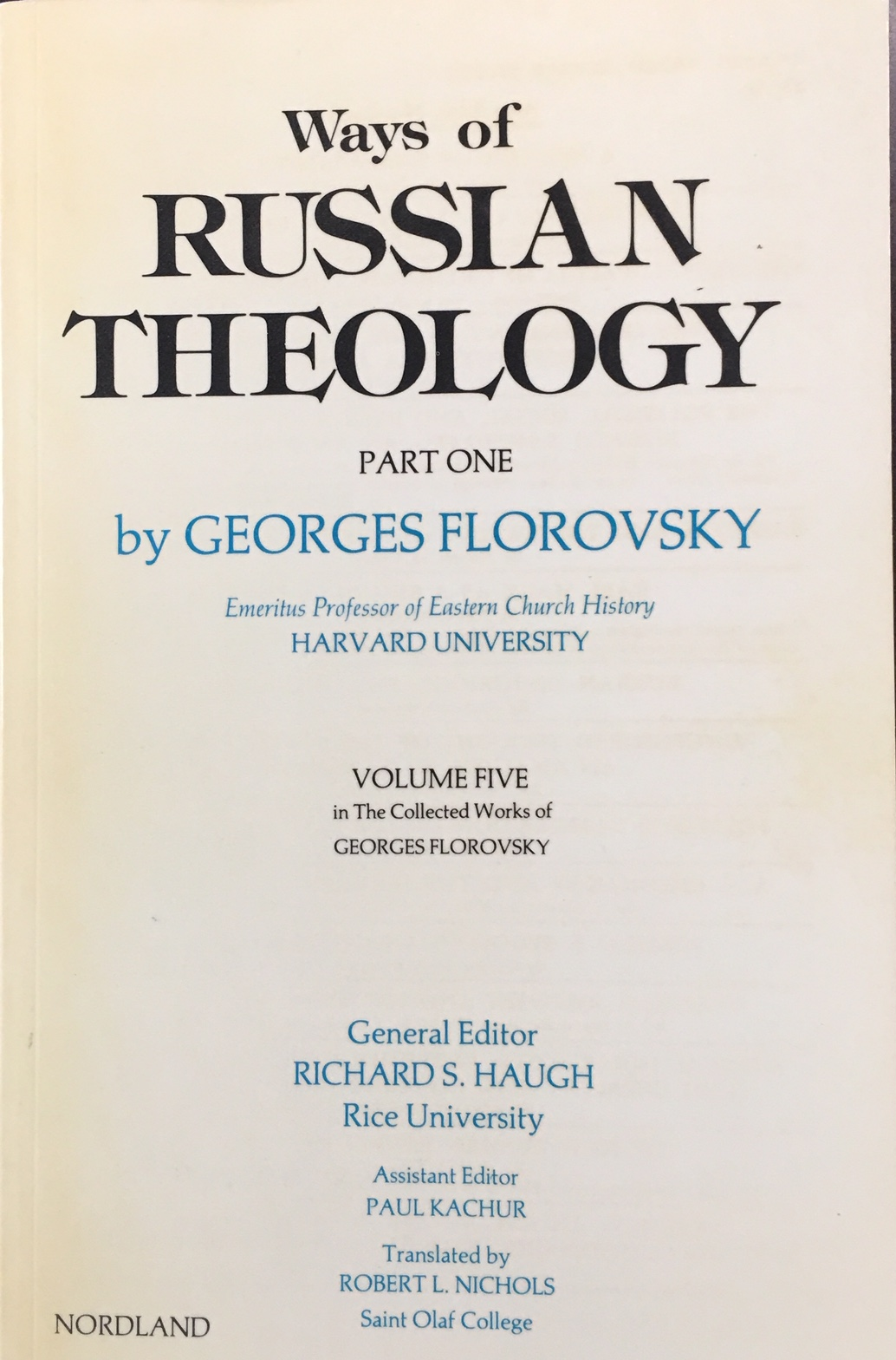Image for Ways of Russian Theology, Part One (Collected Works of Georges Florovsky, Volume Five)