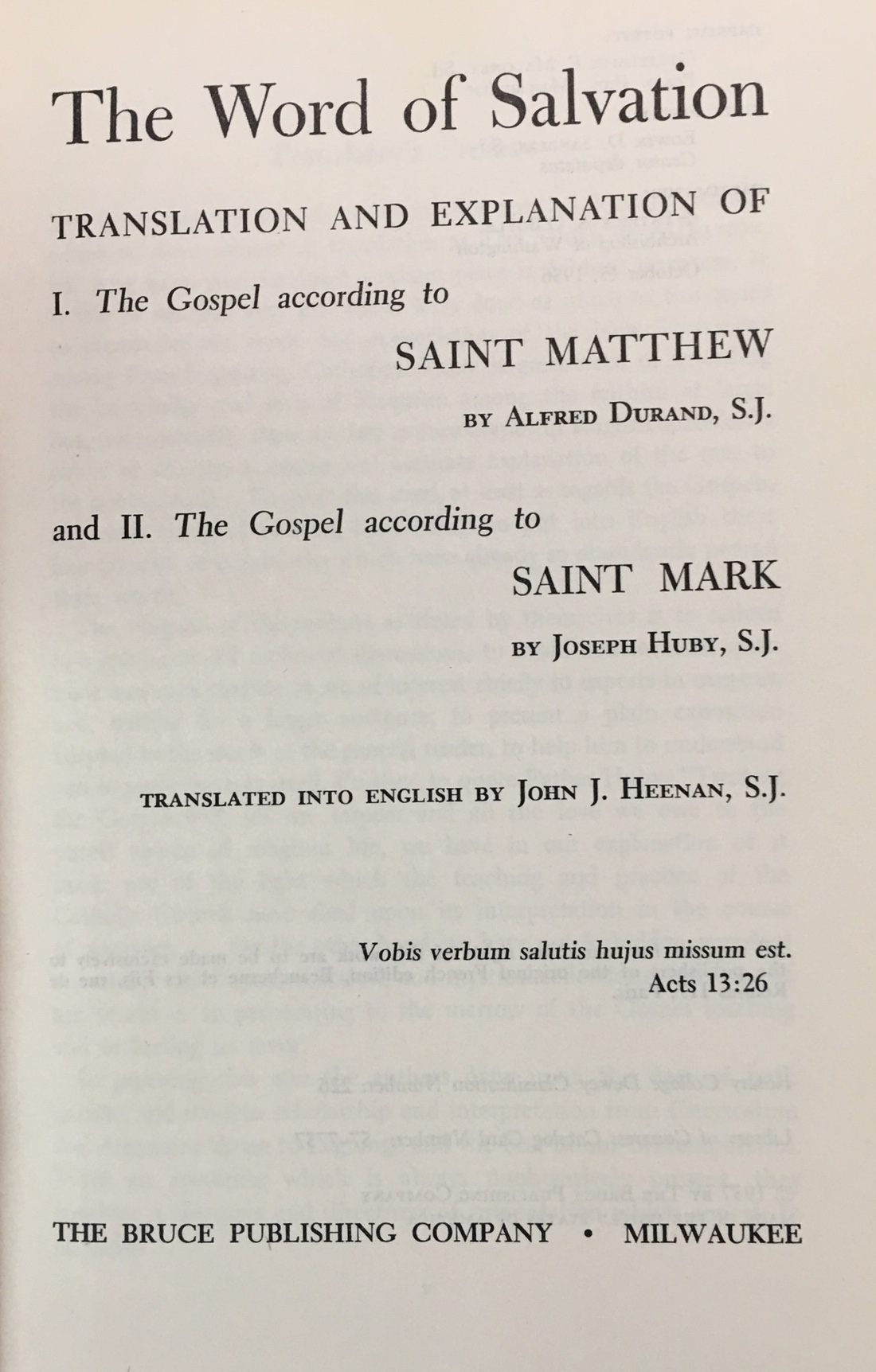 Image for The Word of Salvation, Translation and Explanation of: I. The Gospel According to Saint Matthew by Alfred Durand; and II. The Gospel According to Saint Mark by Joseph Huby