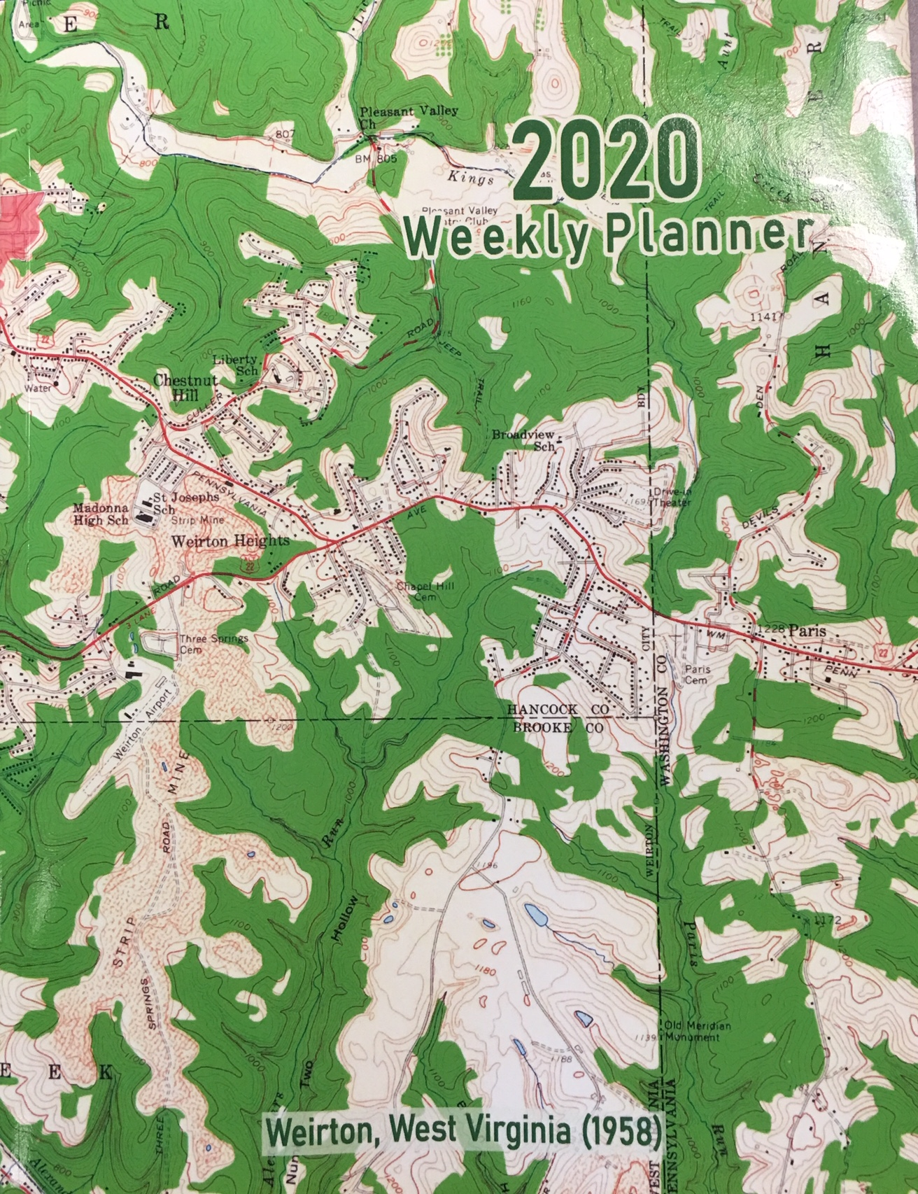 Image for 2020 Weekly Planner: Weirton, West Virginia (1958): Vintage Topo Map Cover