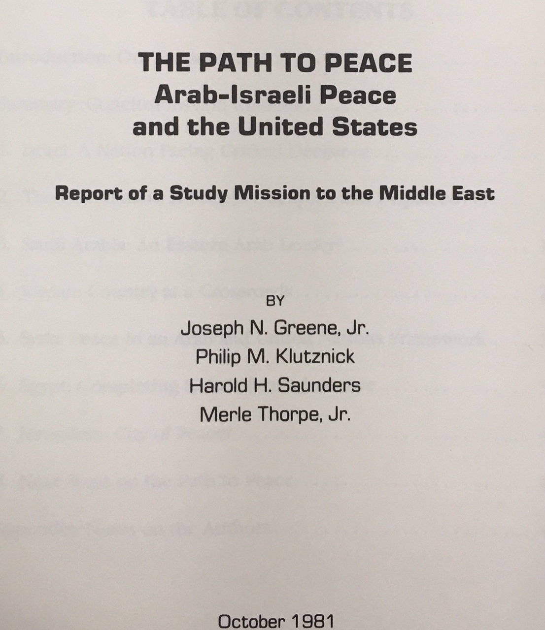 Image for The Path to Peace: Arab-Israeli Peace and the United States - Report of a Study Mission to the Middle East (A Seven Springs Report)