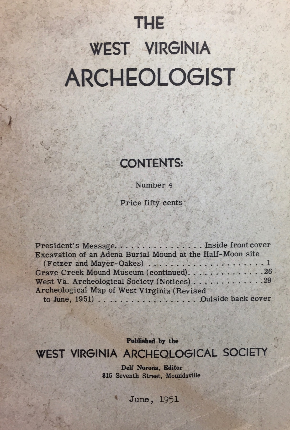 Image for The West Virginia Archeologist (No. 4 - June, 1951)