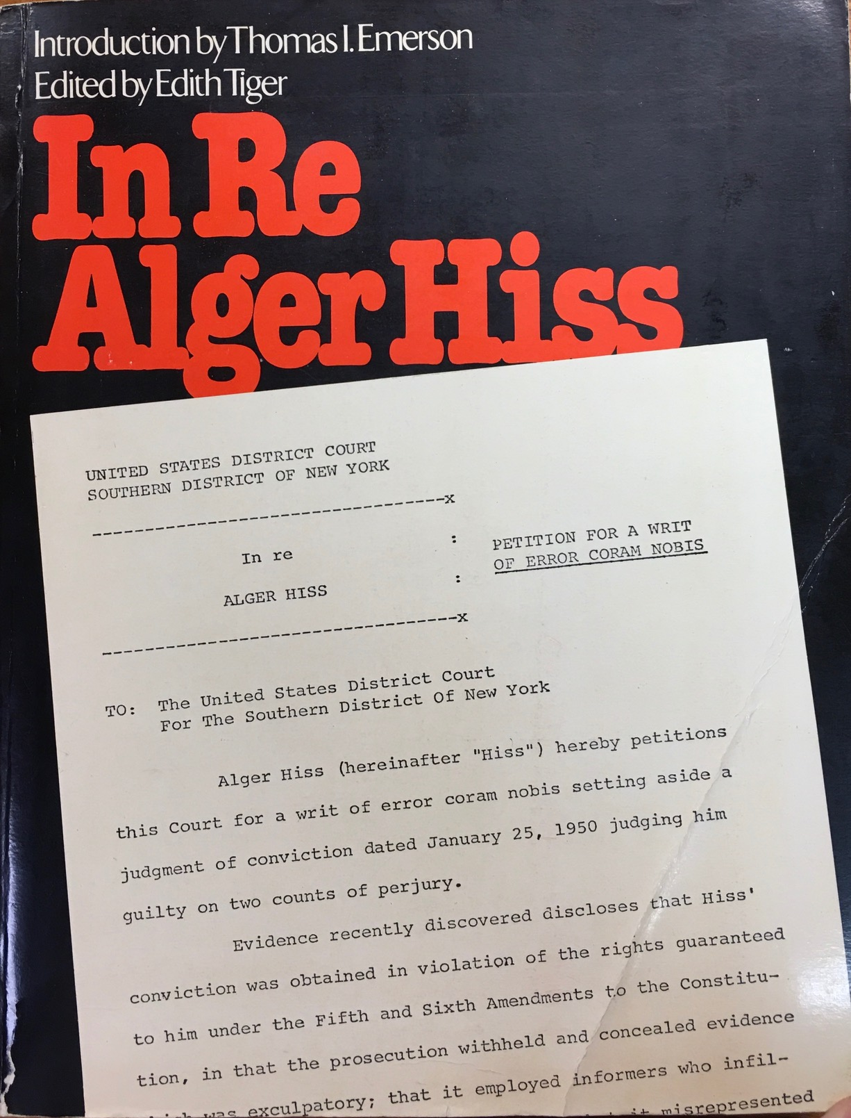 Image for In Re Alger Hiss:  Petition for a Writ of Error Coram Nobis