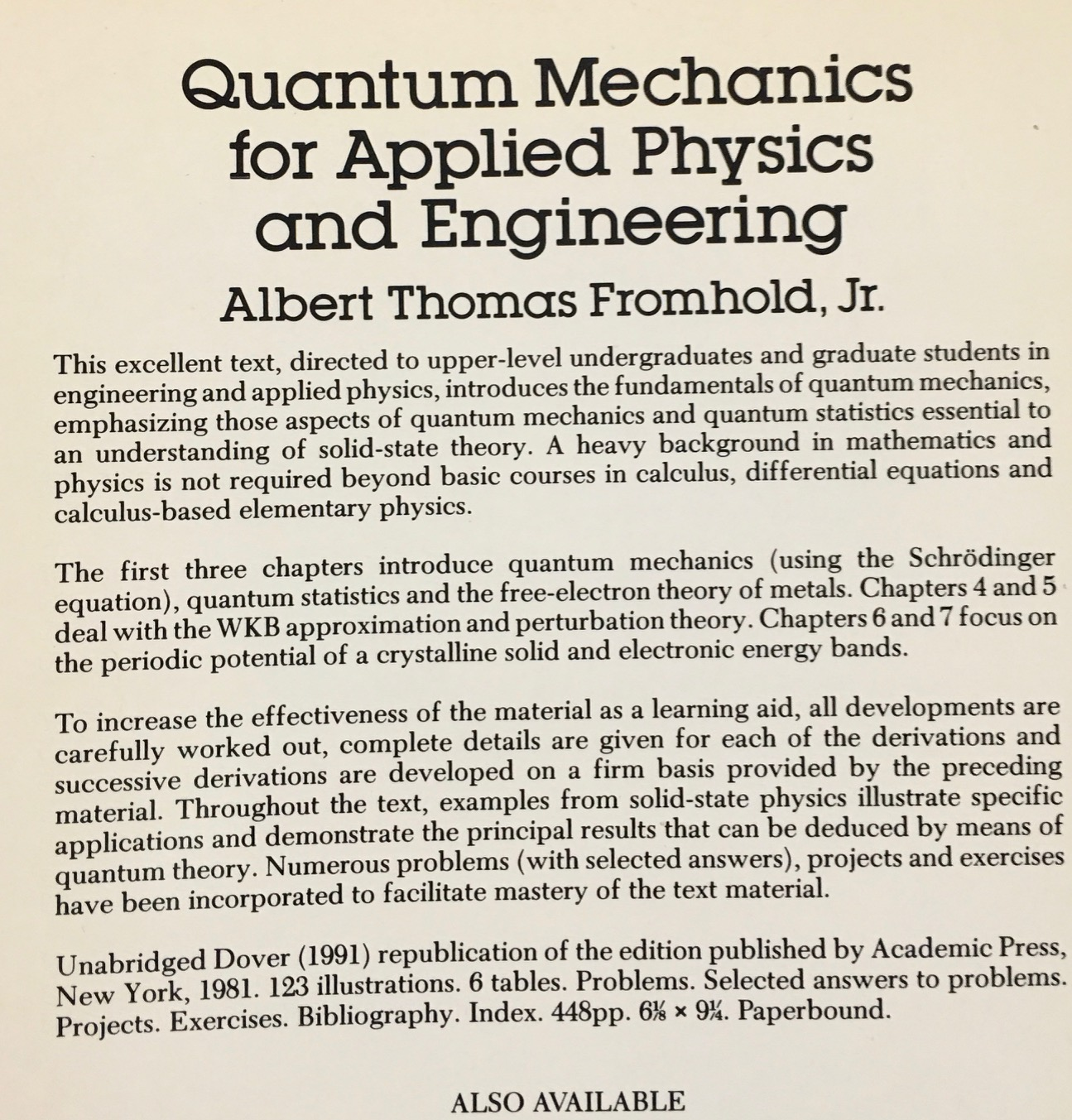Image for Quantum Mechanics for Applied Physics and Engineering (Dover Books on Physics)