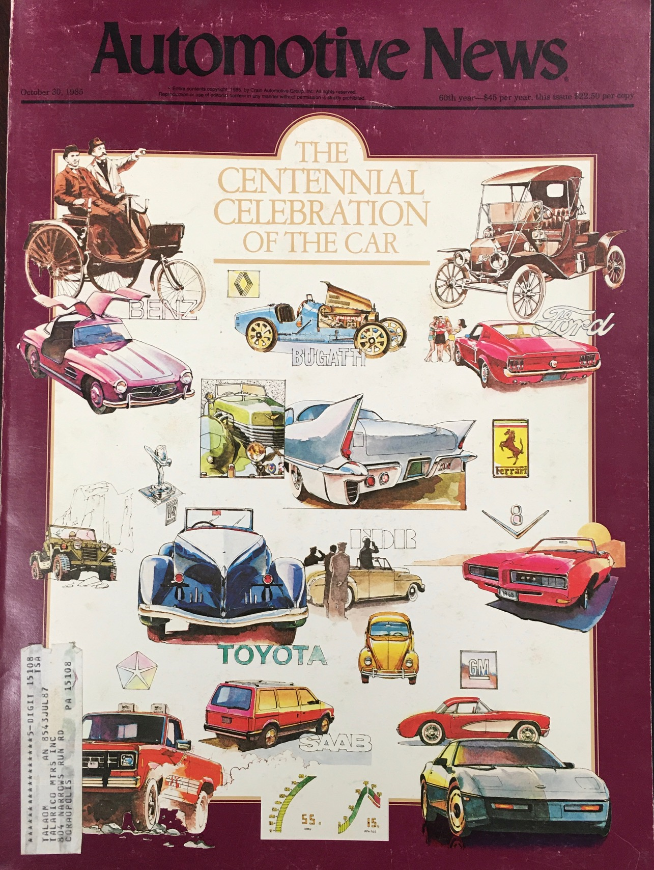 Image for Automotive News  - The Centennial Celebration of the Car Edition (Octorber 30, 1985 - 60th Year, No. 5099)