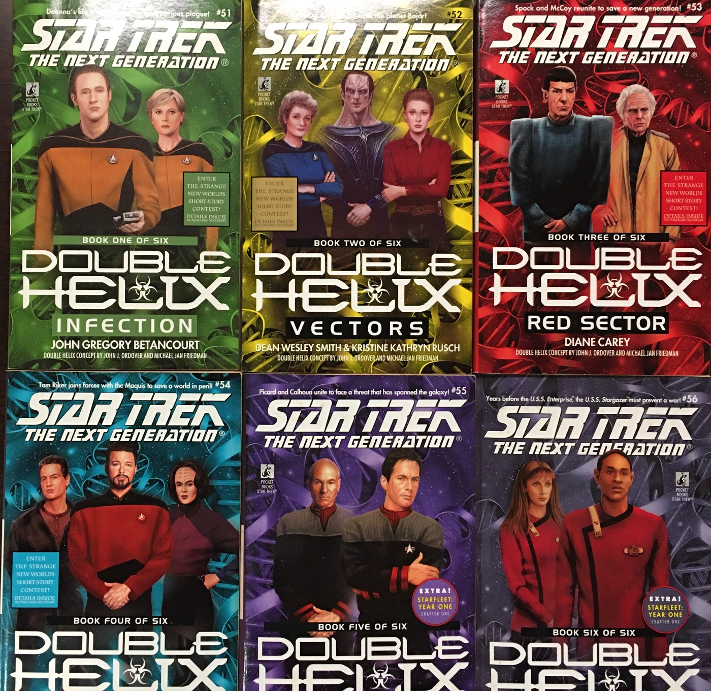 Image for Star Trek The Next Generation: Double Helix - 6 Book Set (Book 1: Infection; Book 2: Vectors; Book 3: Red Sector; Book 4: Quarantine; Book 5: Double or Nothing; Book 6: The First Virtue)