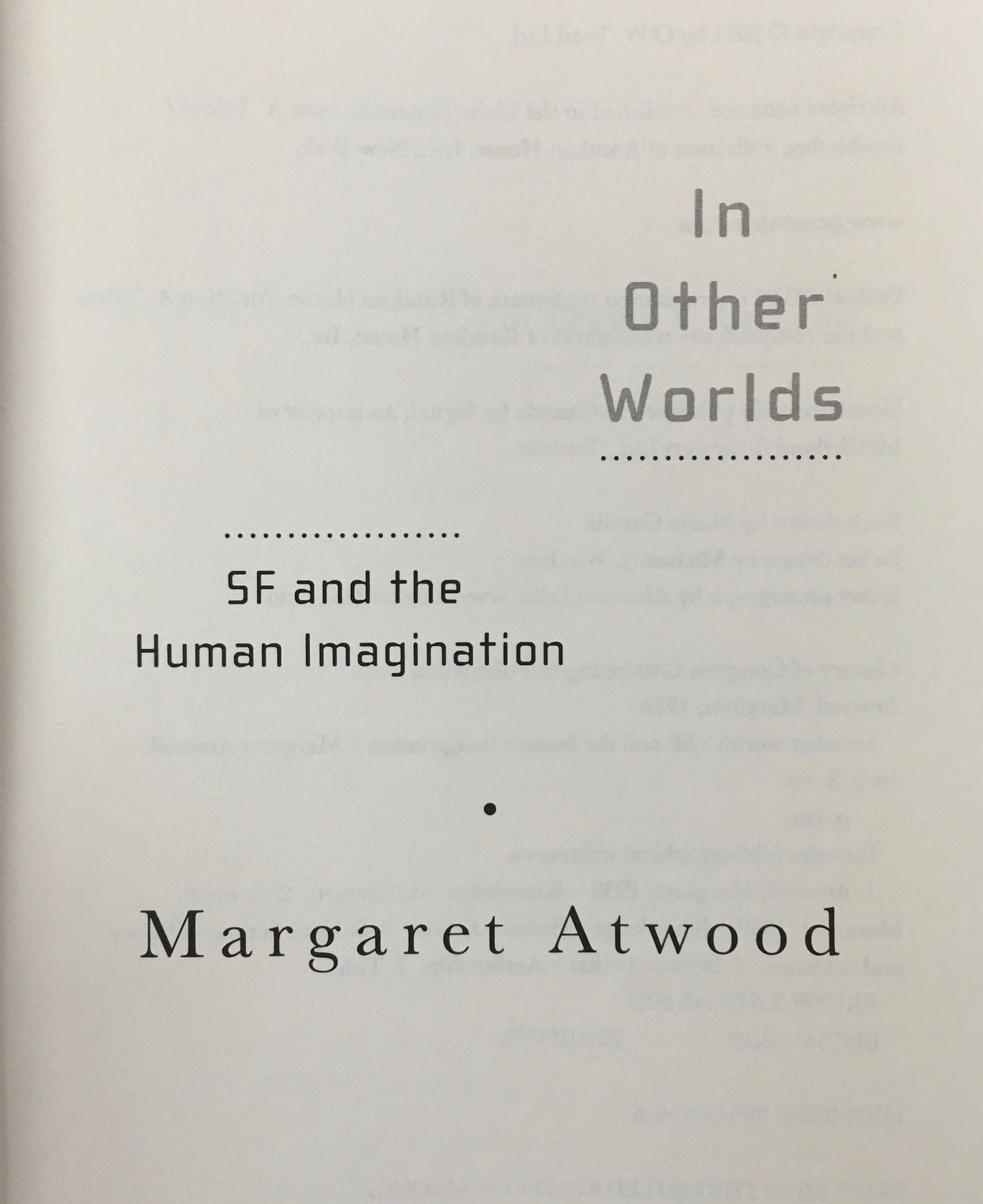 Image for In Other Worlds: SF and the Human Imagination