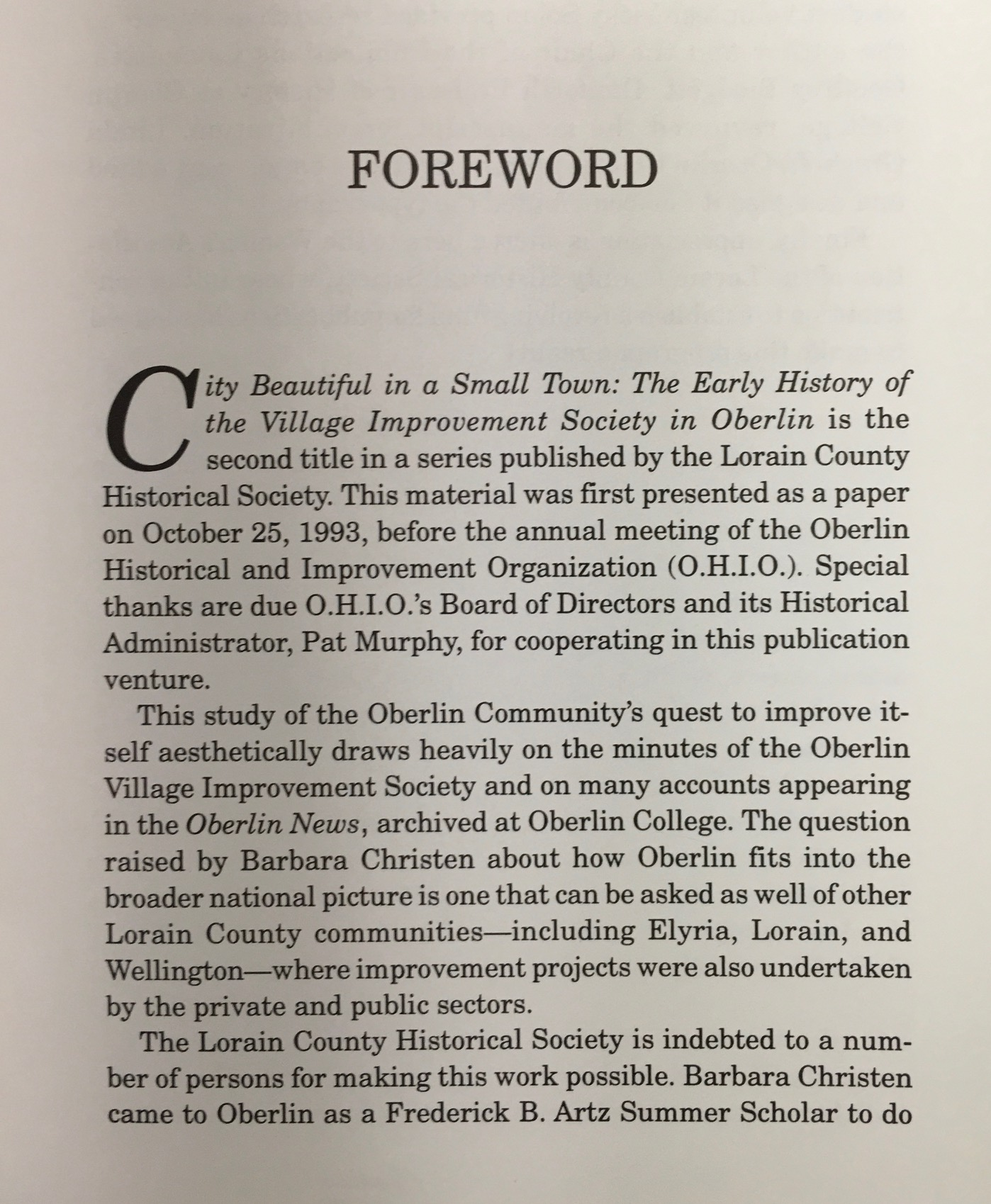 Image for City Beautiful In a Small town: The early history of the Village Improvement Society in Oberlin [Ohio]