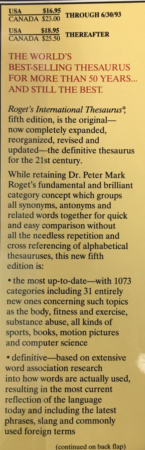 Image for Roget's International Thesaurus - 5th Edition, Completely Revised and Updated (Thumb Indexed)