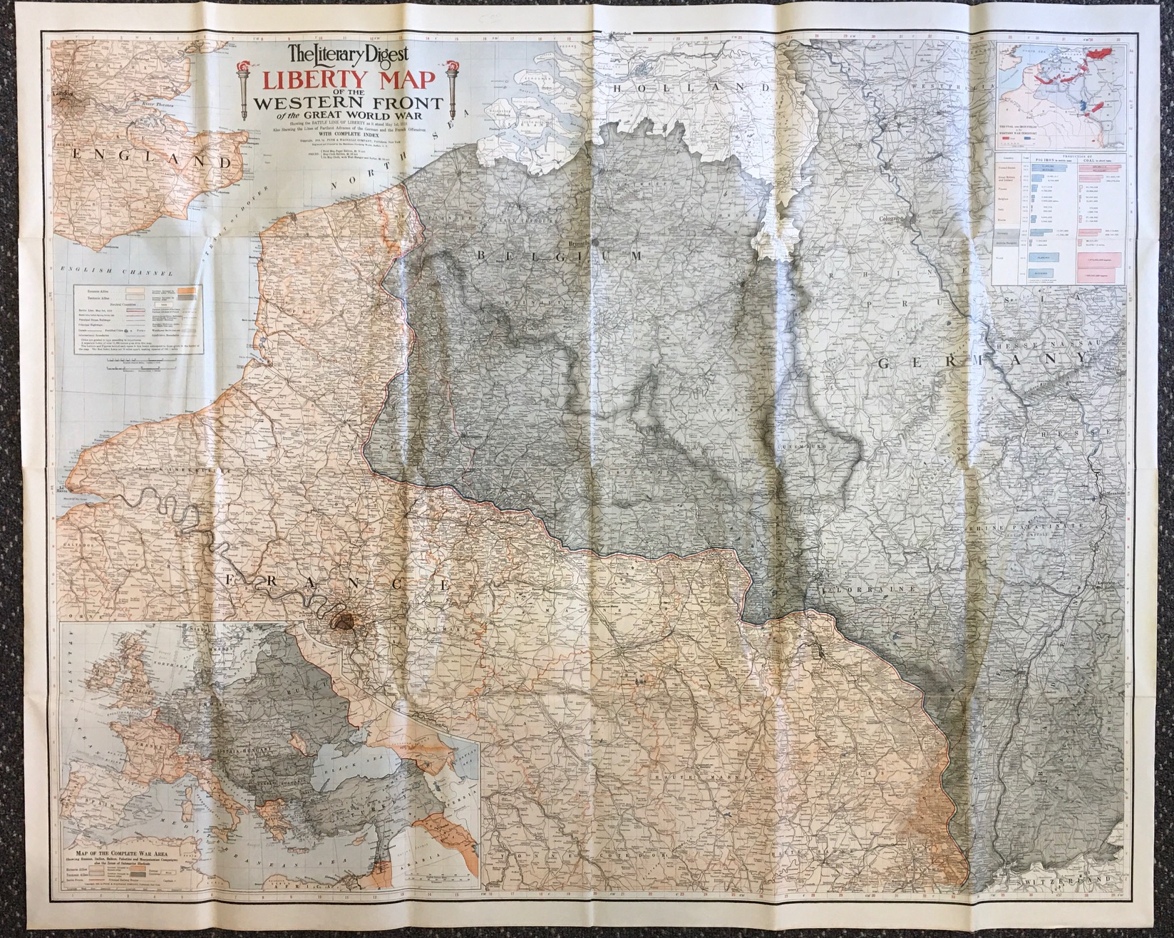 Image for The Literary Digest Liberty Map of the Western Front of the Great World War: Showing the BATTLE LINE OF LIBERTY as it stood May 1st, 1918 -  also showing the lines of farthest advance of the German and the French Offensives (Map Cloth Edition)