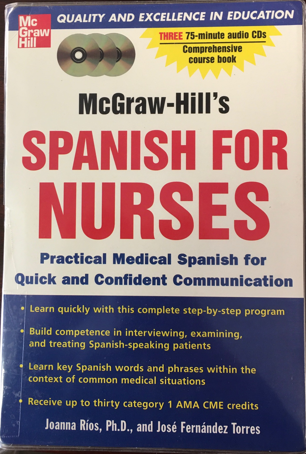 Image for McGraw-Hill's Spanish for Nurses : A Practical Course for Quick and Confident Communication(paperback & 3 CD'S)