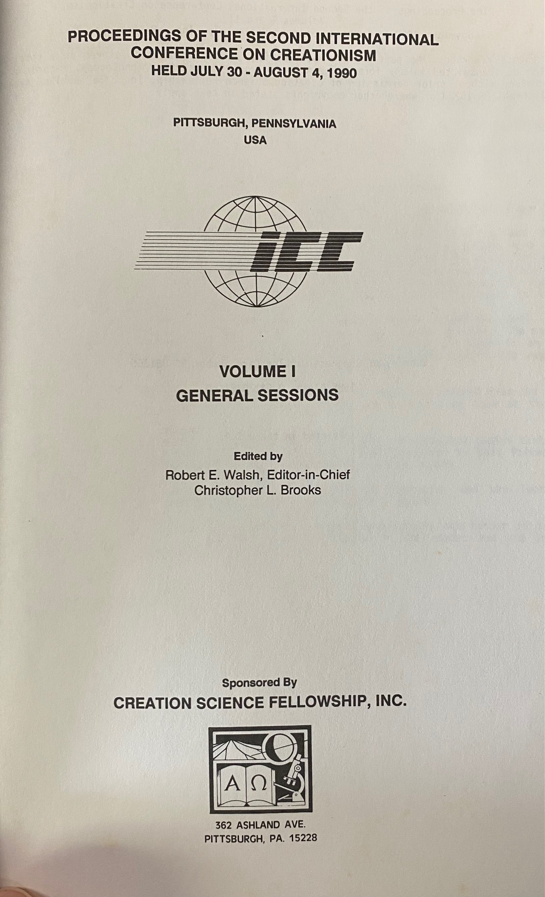 Image for Proceedings of the Second International Conference on Creationism, held July 30 to August 4, 1990, Pittsburgh, Pennsylvania, USA  - Volume I (General Sessions)