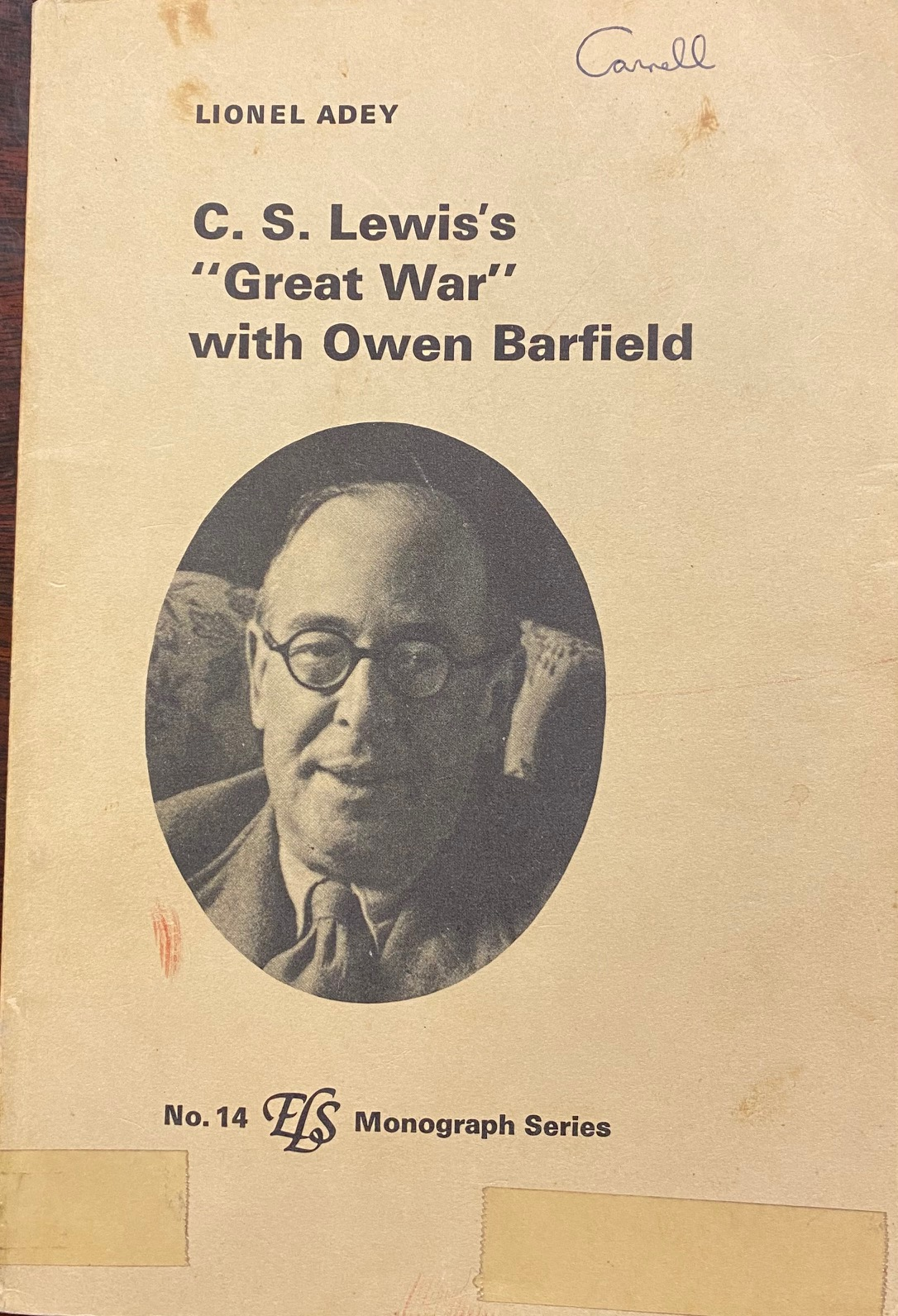 Image for C. S. Lewis's 'Great War' with Owen Barfield (ELS Monograph Series - No. 14)