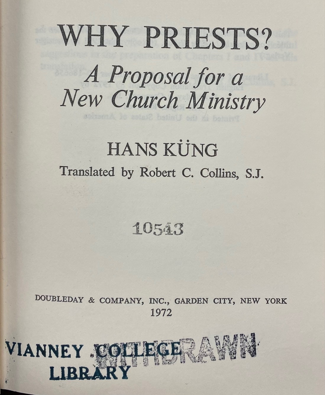 Image for Why Priests? A Proposal for a New Church Ministry