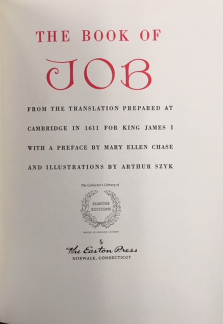 Image for The Book of Job from the Translation Prepared at Cambridge in 1611 for King James I (Collector's Library of Famous Editions - Easton Press)